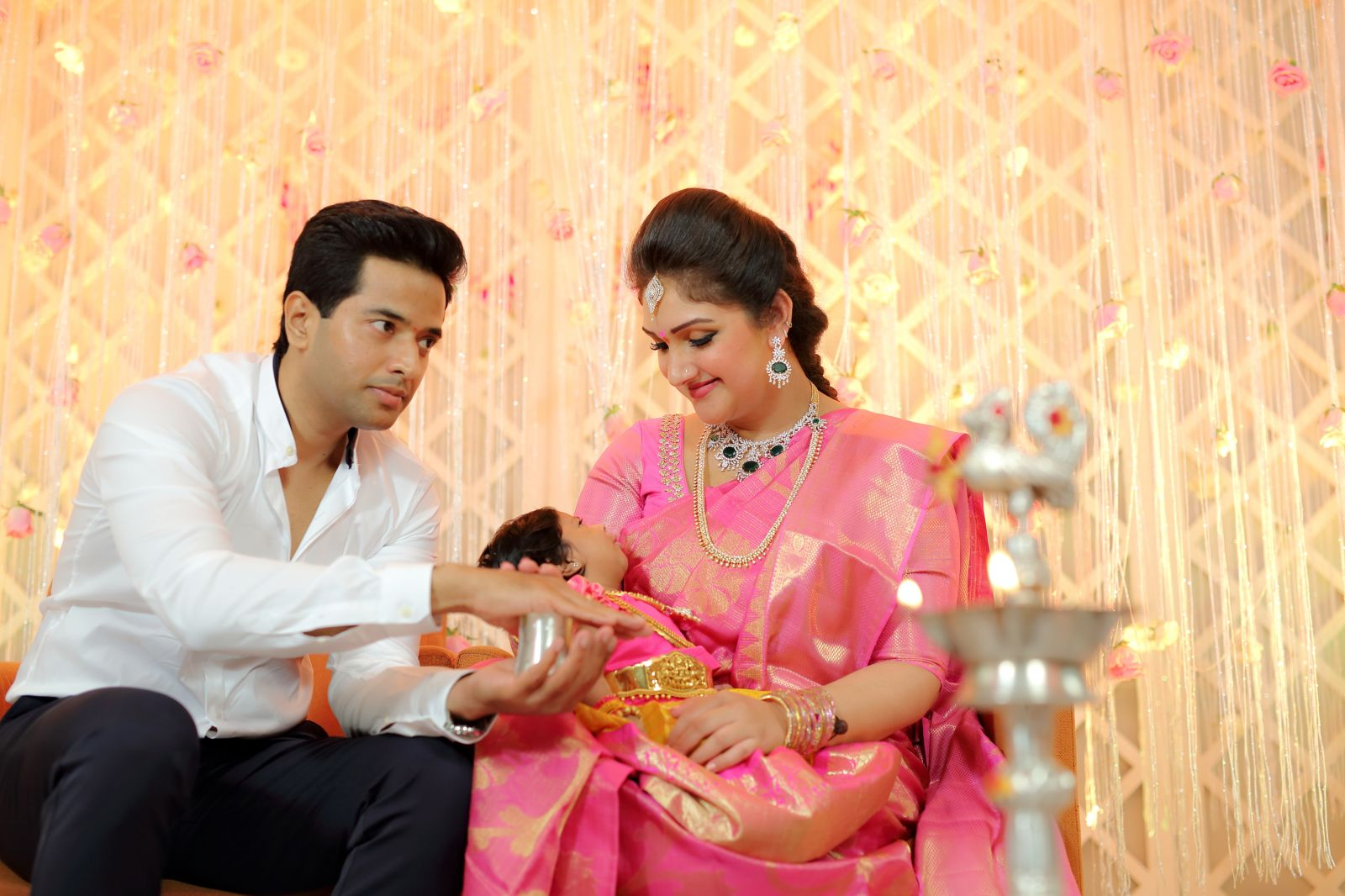 Chennai365 rahul sridevi vijaykumar 39 s baby rupikaa for Baby cradle function decoration